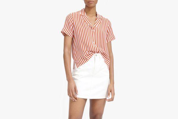 Everlane Clean Silk Short-Sleeve Notch Shirt