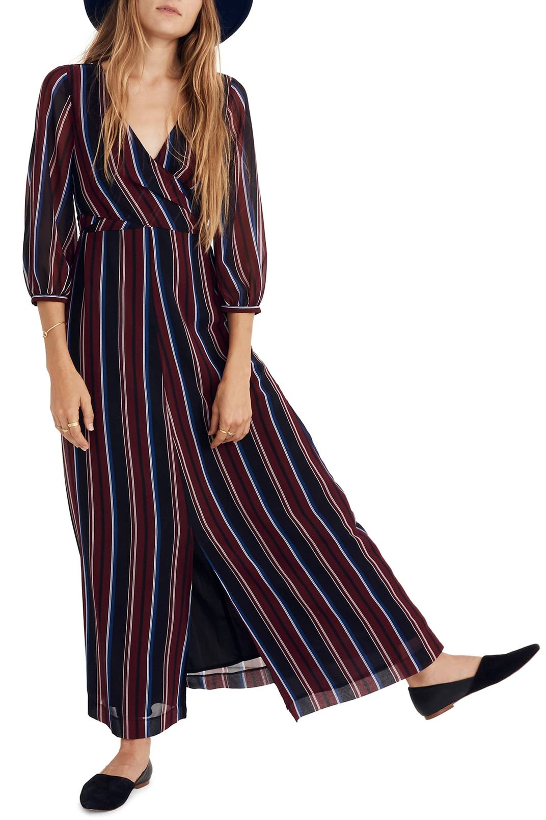 Madewell Stripe Wraparound Maxi Dress