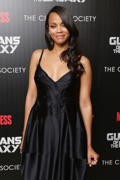 """NEW YORK, NY - JULY 29:  Actress Zoe Saldana attends The Cinema Society with Men's Fitness and FIJI Water special screening of Marvel's """"Guardians of the Galaxy"""" at Crosby Street Hotel on July 29, 2014 in New York City.  (Photo by Neilson Barnard/WireImage)"""