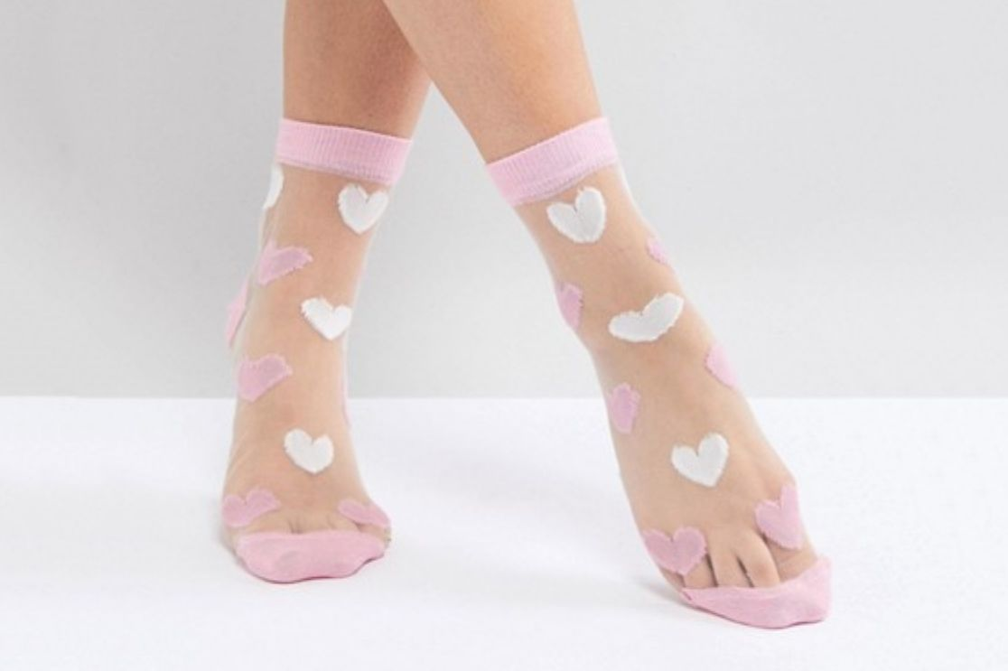 Valentines Sheer Heart Socks