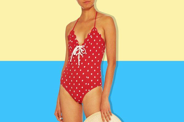 Marysia Swim Broadway Polka Dot Lace Up Maillot Swimsuit