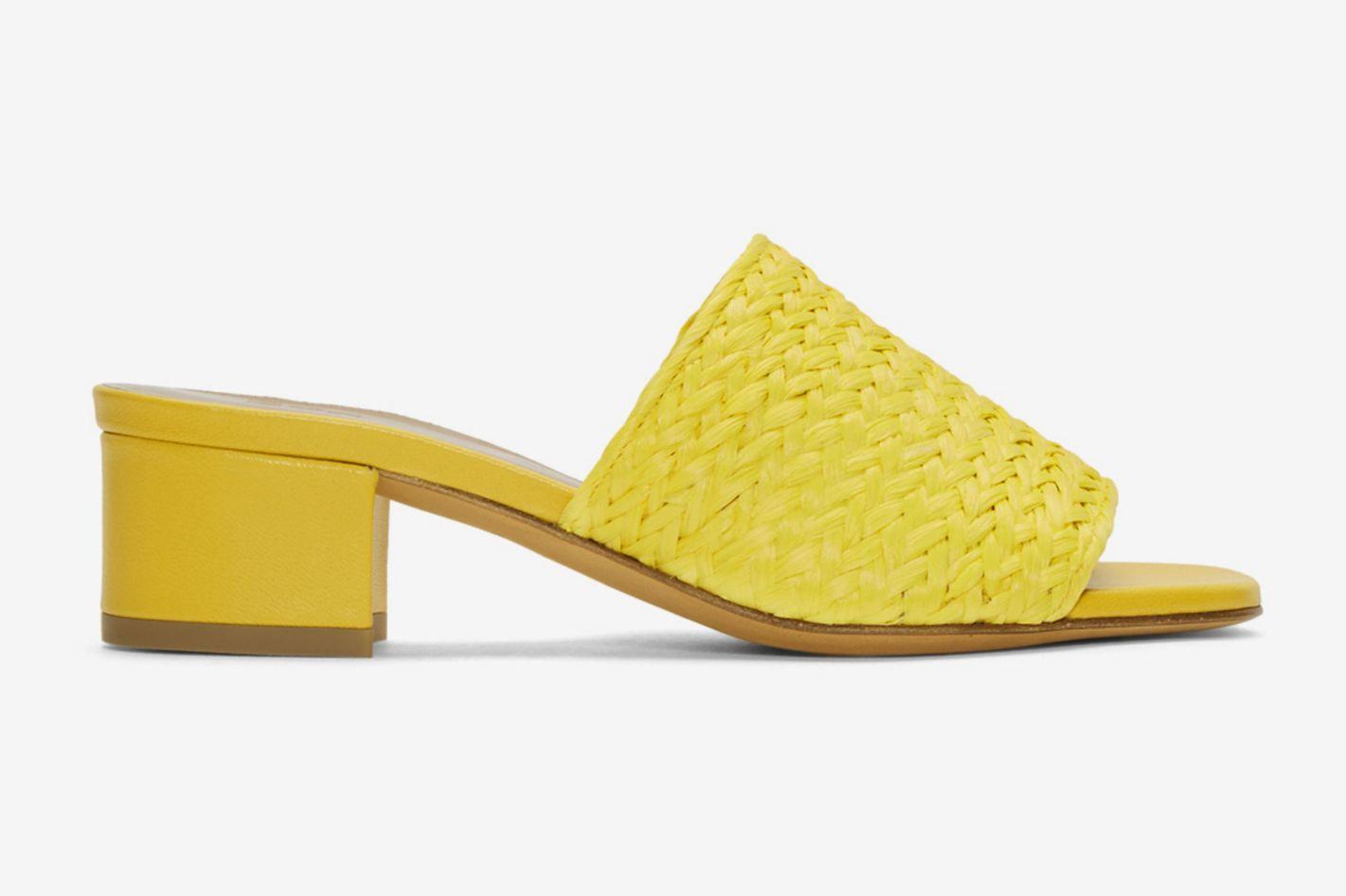 Maryam Nassir Zadeh Yellow Straw Mules