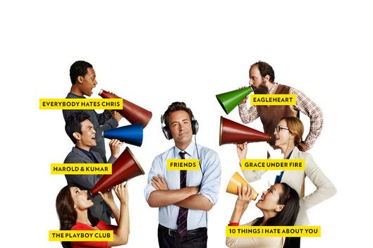GO ON -- Season: 1 -- Pictured: (left, top down)  Tyler James Williams as Owen,  John Cho as Steven, Laura Benanti as Lauren, (center) Matthew Perry as Ryan, (right, top down) Brett Gelman as Mr. K,  Julie White as Anne, Suzy Nakamura as Yolanda .