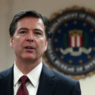 FBI director James Comey speaks during a news conference at the Phillip Burton Federal Building on February 27, 2014 in San Francisco, California.  FBI director Comey met with members of the media and local law enforcement officials while in the San Francisco Bay Area to attended the RSA Security conference.