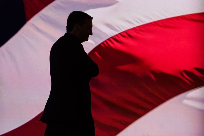 Ted Cruz leaves after speaking during the Republican National Convention on Wednesday, July 20, 2016, in Cleveland, during the third day of the Republican convention.(Photo/Andres Kudacki)