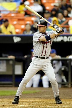 QUEENS, NY- SEPTEMBER 1: Left fielder Chipper Jones #10 of the Atlanta Braves readies for the pitch during the game against the New York Mets at Shea Stadium  on September 1, 2003 in Queens, New York. The Mets defeated the Braves 3-2. (Photo by Chris Trotman/Getty Images)