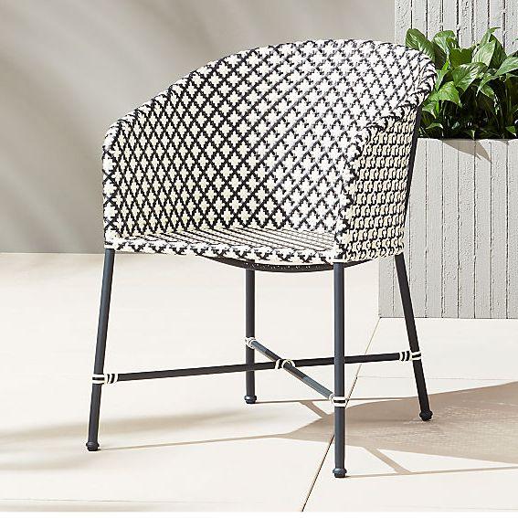 CB2 Brava Dining-Lounge Grey Wicker Chair