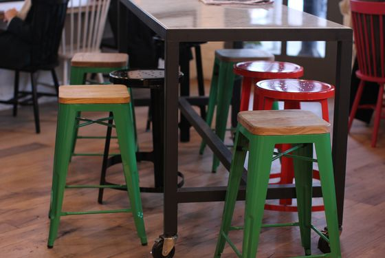 And red and green for the stools.