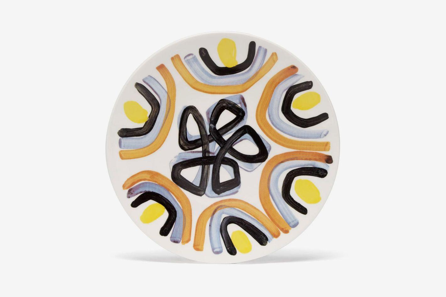 Peter Pilotto Painted ceramic dessert plate