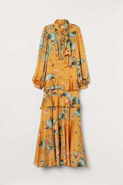 H&M Long Dress with Scarf Collar