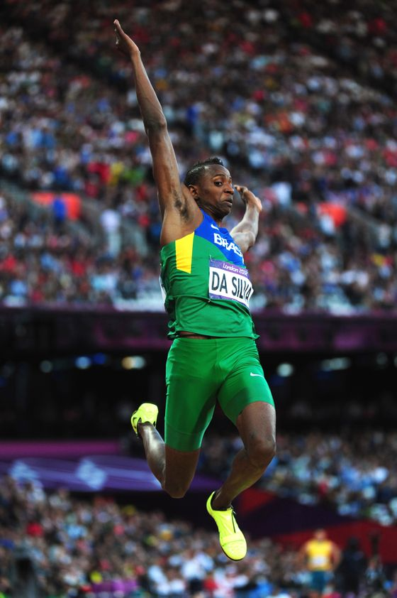 LONDON, ENGLAND - AUGUST 04:  Mauro Vinicius Da Silva of Brazil competes in the Men's Long Jump Final on Day 8 of the London 2012 Olympic Games at Olympic Stadium on August 4, 2012 in London, England.  (Photo by Stu Forster/Getty Images)