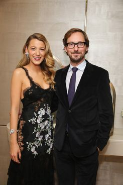 Actress Blake Lively and International CEO of Van Cleef & Arpels Nicolas Bos attend the unveiling of Van Cleef & Arpels redesigned New York 5th Avenue Flagship Maison at Van Cleef & Arpels on December 10, 2013 in New York City.