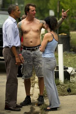 Obama presumably wants an America where this man can afford a shirt.