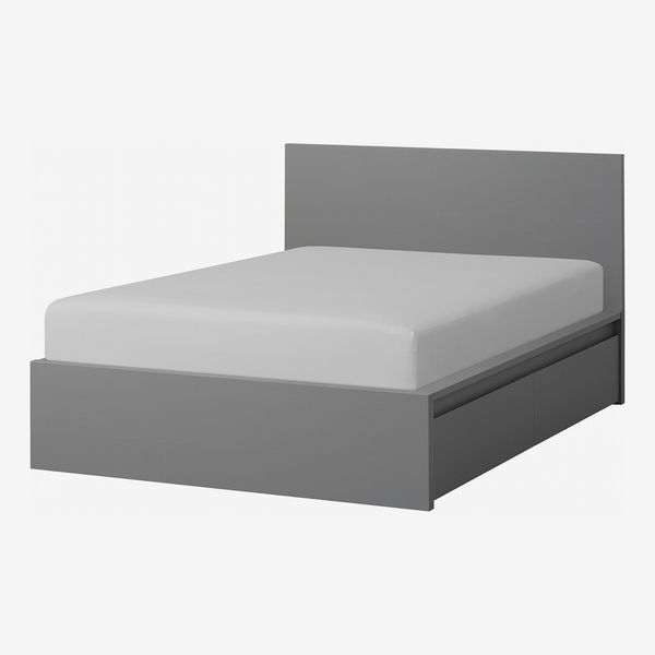 Ikea Malm High Bed Frame/2 Storage Boxes, Gray Stained, Luröy, Queen