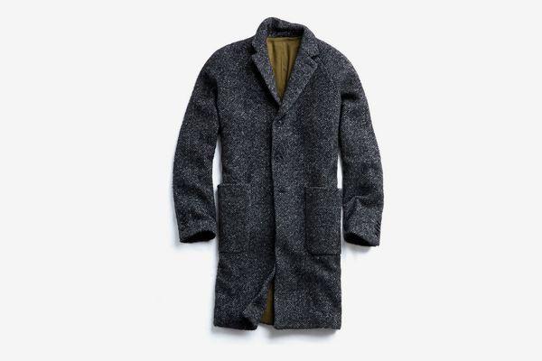 Italian Wool Bouclé Herringbone Topcoat in Charcoal