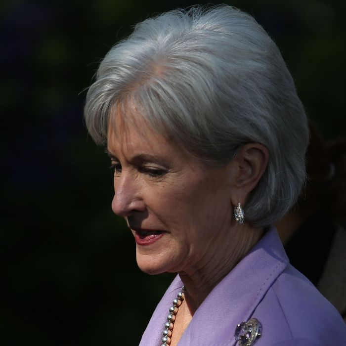 WASHINGTON, DC - OCTOBER 21: Health and Human Services Secretary Kathleen Sebelius arrives to listen to U.S. President Barack Obama speak about the error-plagued launch of the Affordable Care Act's online enrollment website in the Rose Garden of the White House October 21, 2013 in Washington, DC. According to the White House, the president was joined by 'consumers, small business owners, and pharmacists who have either benefitted from the health care law already or are helping consumers learn about what the law means for them and how they can get covered. 'Despite the new health care law's website problems, Obama urged Americans not to be deterred from registering for Obamacare because of the technological problems that have plagued its rollout. (Photo by Mark Wilson/Getty Images)