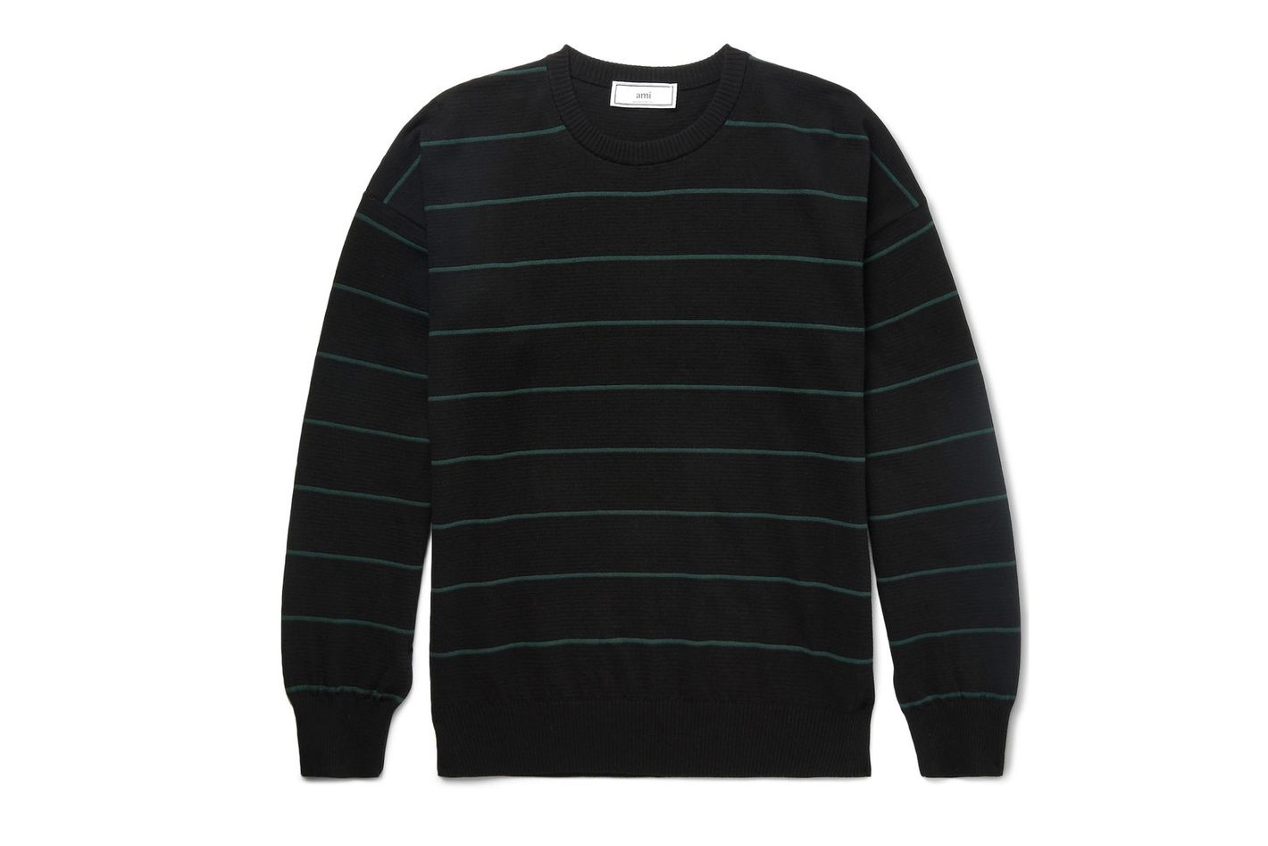 AMI Striped Knitted Cotton Sweater