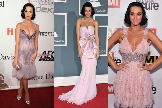 <b>When:</b> February 2009     <b>Where:</b> A variety of Grammys-related events, up to and including the actual Grammys.     <b>What:</b> Apparently, the theme of the 2009 Grammys was PASTELS. Or maybe BOOBS. Perry brought both, with a side of ruffles and a handful of glitter. In other words: business as usual.