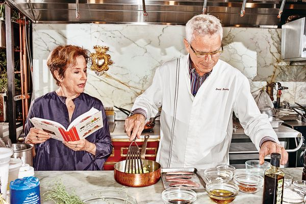 David Bouley, working off Alice Waters's recipe  — and Waters making sure she remembers it.