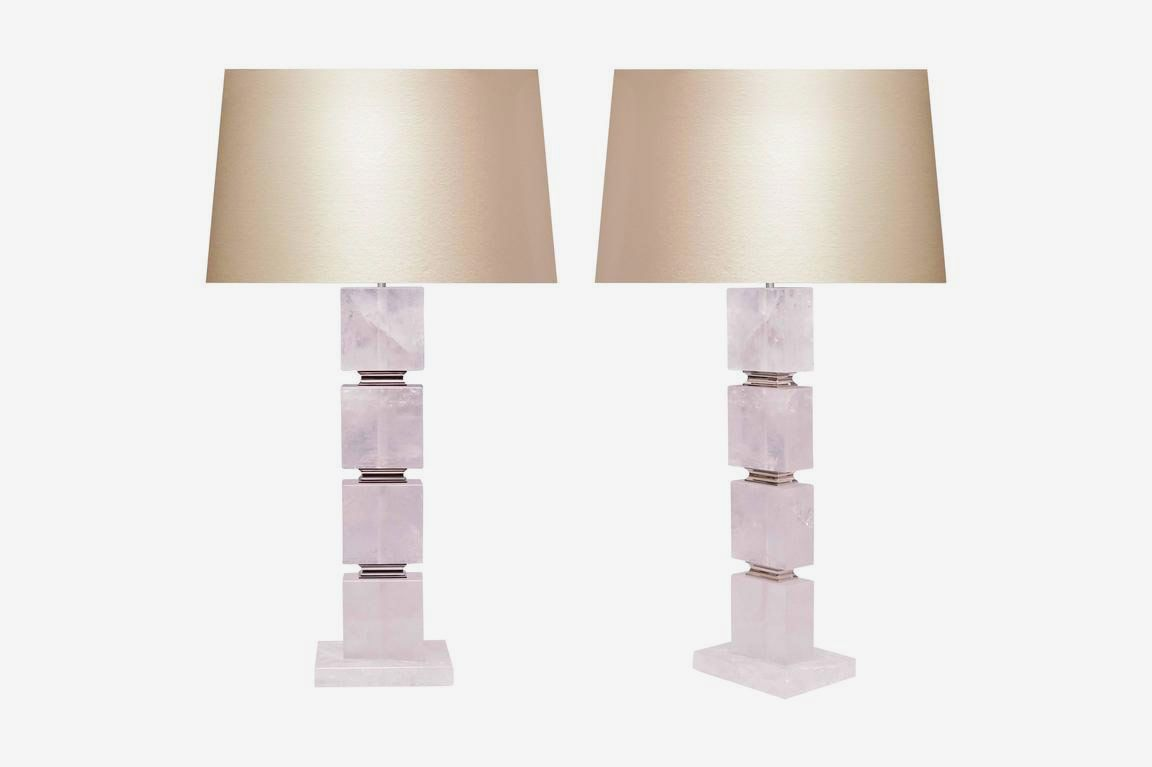 Phoenix Gallery Pair of Flat Cubic Form Rock Crystal Lamps