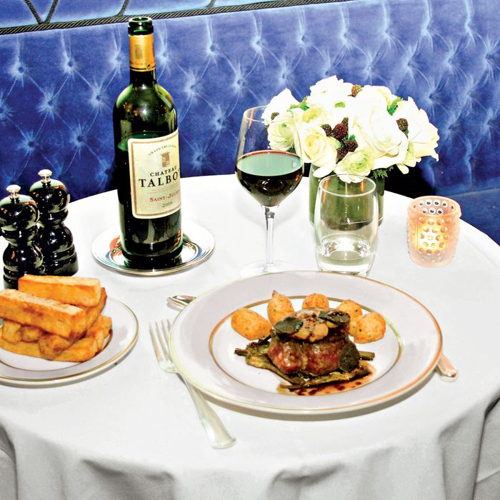 Ladurée beef tournedos, pan-seared foie gras, artichokes and Dauphine truffled potatoes.