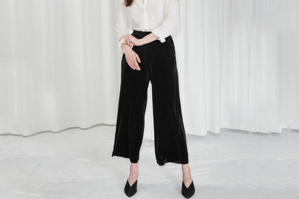 Pleated Metallic Trousers