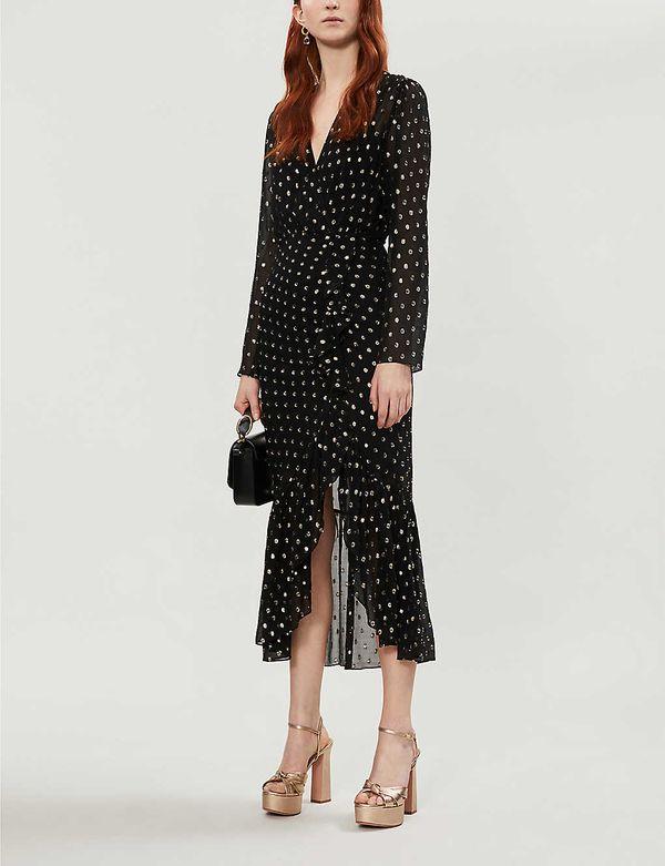 Sandro Loona Polka Dot-Pattern Woven Midi Dress