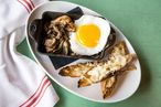 Weitzman's Hudson Valley duck egg with grilled mushrooms, and smoked Pecorino toast.
