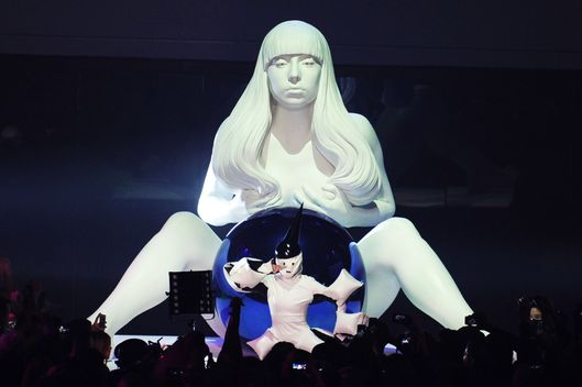 BROOKLYN, NY - NOVEMBER 10:  Lady Gaga performs at artRave on November 10, 2013 in Brooklyn, New York.  (Photo by Bryan Bedder/Getty Images for Benjamin Rollins Caldwell)