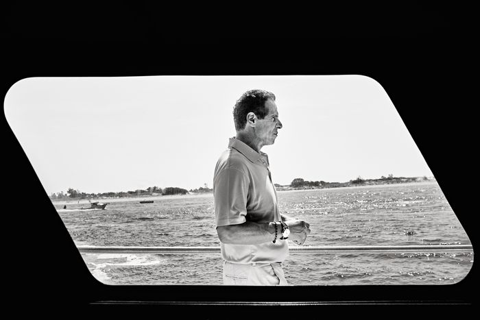 Cuomo at Hempstead reef off Long Island on August 10.