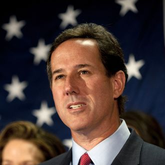 GETTYSBURG, PA - APRIL 10: Surrounded by members of his family, Republican presidential candidate, former U.S. Sen. Rick Santorum announces he will be suspending his campaign during a press conference at the Gettysburg Hotel on April 10, 2012 in Gettysburg, Pennsylvania. Santorum's three-year-old daughter, Bella, became ill over the Easter holiday and poll numbers showed he was losing to Mitt Romney in his home state of Pennsylvania. (Photo by Jeff Swensen/Getty Images)