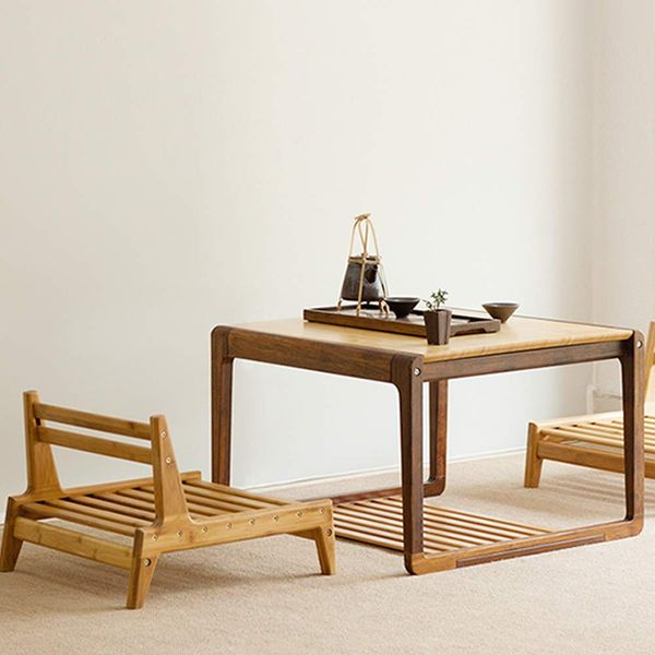 Zen'S Bamboo Coffee Table with Low Storage Shelf