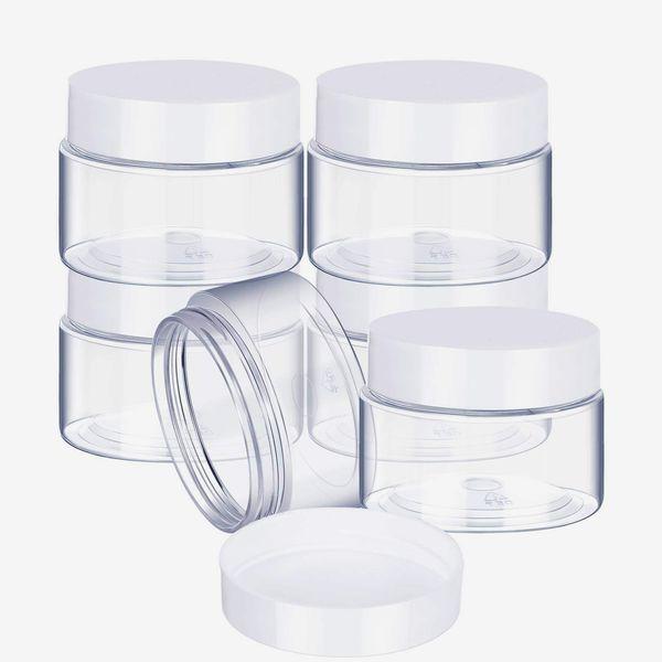 Satinior 6 Pack 2 oz Plastic Pot Jars Round Clear Leak Proof