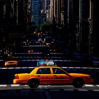NEW YORK, NY - SEPTEMBER 09: A yellow taxi cab crosses a street in Midtown Manhattan on September 9, 2012 in New York City. (Photo by Dan Istitene/Getty Images)