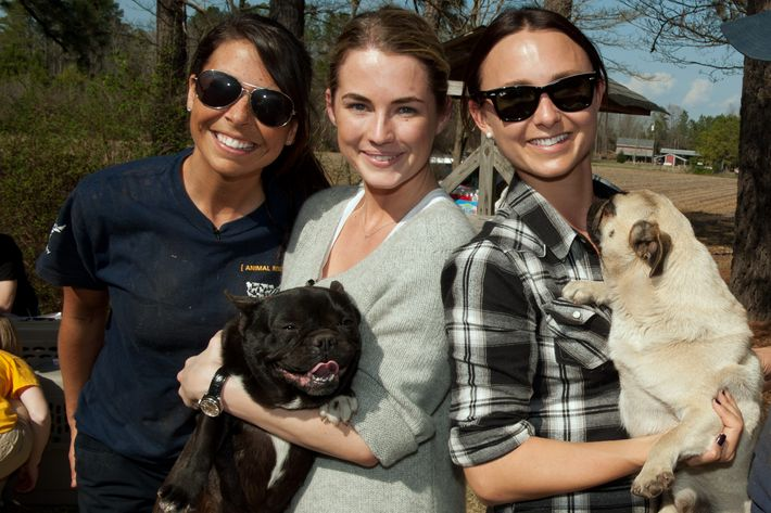 Ashley Mauceri, Deputy Manager, Animal Cruelty with The HSUS, Georgina Bloomberg and Amanda Hearst at the North Carolina puppy mill rescue.
