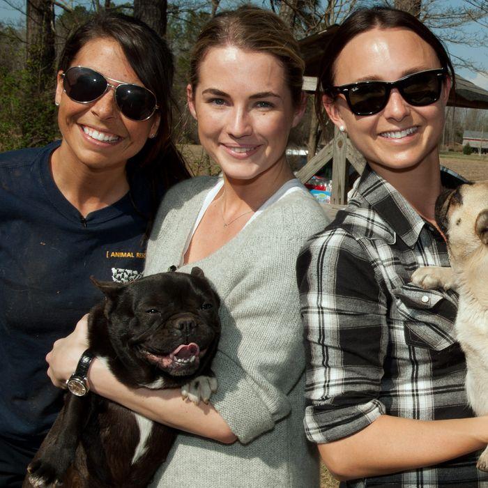 Ashley Mauceri, Deputy Manager, Animal Cruelty with The HSUS, Georgina Bloomberg and Amanda Hearst at the North Carolina puppy mill rescue.