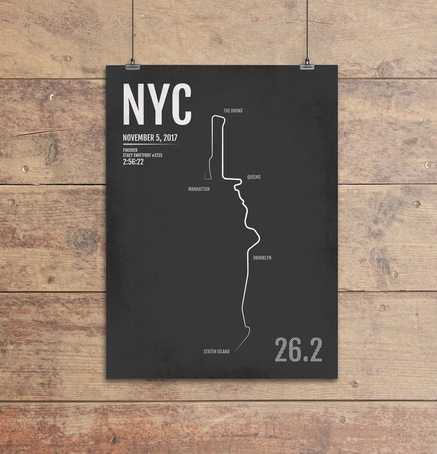 Personalized New York City Marathon Map Print