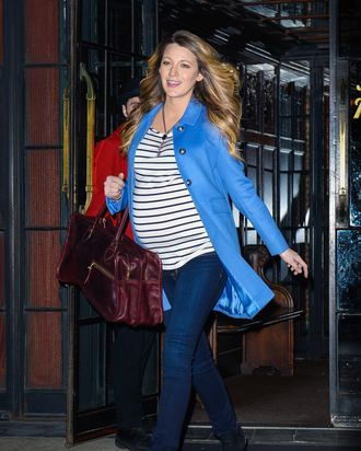 Blake Lively in stripes, so French. (Wylde/Corbis)