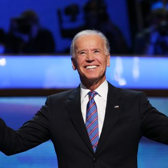 CHARLOTTE, NC - SEPTEMBER 06: Democratic vice presidential candidate, U.S. Vice President Joe Biden walks on stage during the final day of the Democratic National Convention at Time Warner Cable Arena on September 6, 2012 in Charlotte, North Carolina. The DNC, which concludes today, nominated U.S. President Barack Obama as the Democratic presidential candidate. (Photo by Chip Somodevilla/Getty Images)
