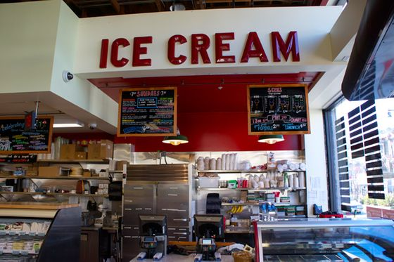Also up front, on the right hand side of the store by the entrance, is the ice cream counter, at which we expect lines just as baffling (particularly in frigid weather) as those at Bi-Rite Creamery on 18th.