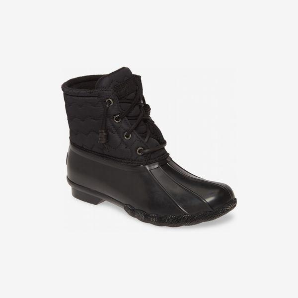 black sperry saltwater rain boot