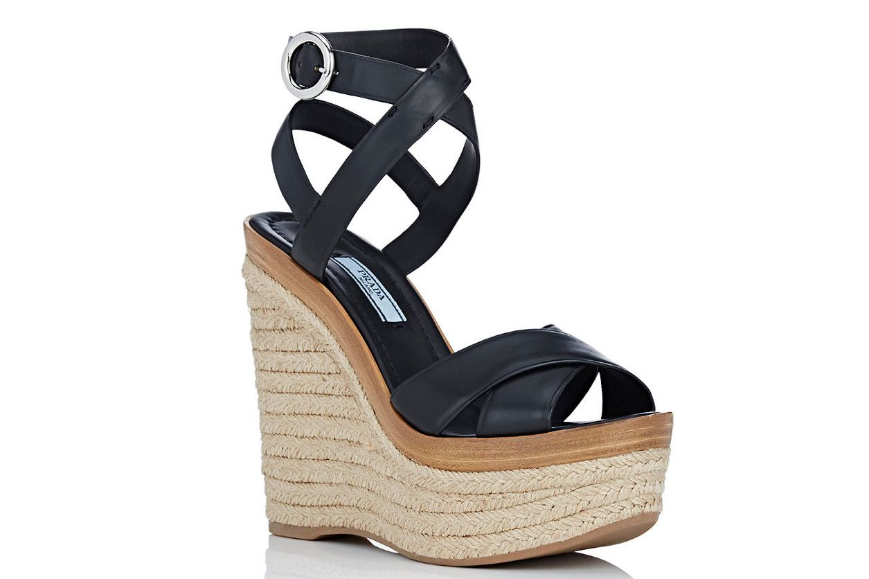 Prada Crisscross Ankle-Strap Platform Sandals