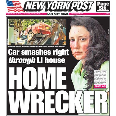New York Post cover for Tuesday, May 29, 2012