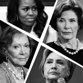 Rosalynn Carter, Michelle Obama, Laura Bush, Hillary Clinton.