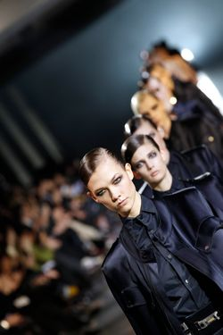 US model Karlie Kloss presents a creation by Belgian designer Anthony Vaccarello during the Fall/Winter 2012-2013 ready-to-wear collection show, on February 28, 2012 in Paris. AFP PHOTO/ALEXANDER KLEIN (Photo credit should read ALEXANDER KLEIN/AFP/Getty Images)