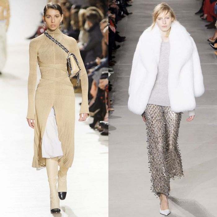 Looks from Proenza Schouler (left and right) and Michael Kors (center).