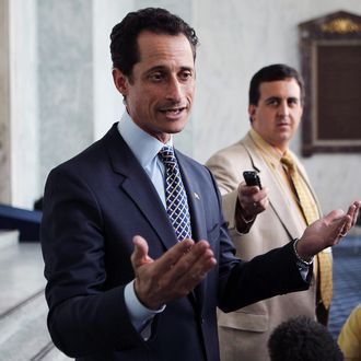 WASHINGTON - MAY 31: U.S. Rep. Anthony Weiner (D-NY) speaks to the media regarding a lewd photo tweet May 31, 2011 on Capitol Hill in Washington, DC. A close-up photo of underwear of a man was tweeted from Weiner's Twitter account addressed to a college student in Seattle. The photo was deleted soon after and Weiner has claimed his account was hacked. (Photo by Alex Wong/Getty Images)