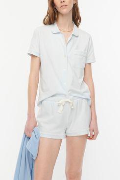 J.Crew Dreamy Short-Sleeve Pajama Short Set (Sheer Blue)