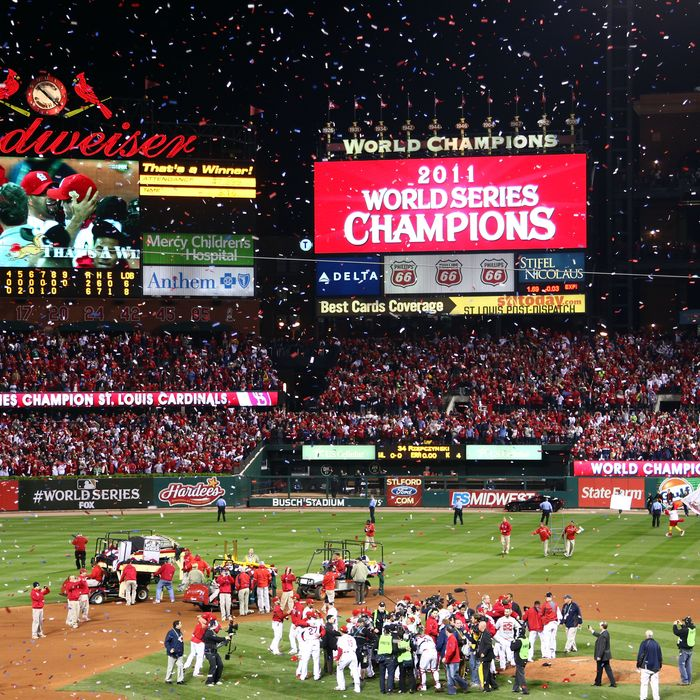 ST LOUIS, MO - OCTOBER 28: The St. Louis Cardinals celebrate after defeating the Texas Rangers 6-2 to win the World Series in Game Seven of the MLB World Series at Busch Stadium on October 28, 2011 in St Louis, Missouri. (Photo by Dilip Vishwanat/Getty Images)