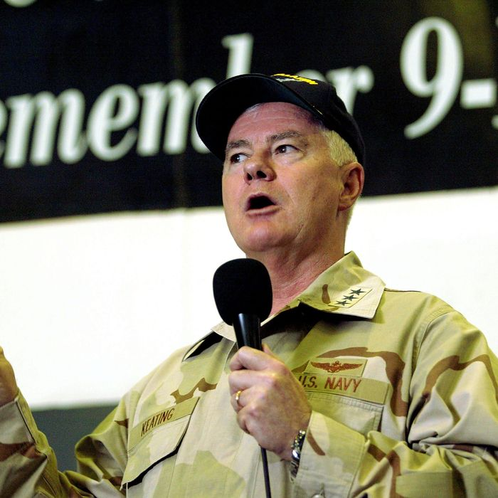 U.S. Navy Vice Admiral Timothy Keating, Commander of the Navy's Fifth Fleet, addresses the sailors of the U.S.S. Constellation in the aircraft hangar March 19, 2003 in the Persian Gulf. The Vice Admiral rallied sailors aboard the Constellation as the U.S. prepares to go to war against Iraq.